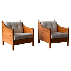 Swedish Designer, Lounge Chairs, Solid Pine, White Bouclé, Sweden, 1970s