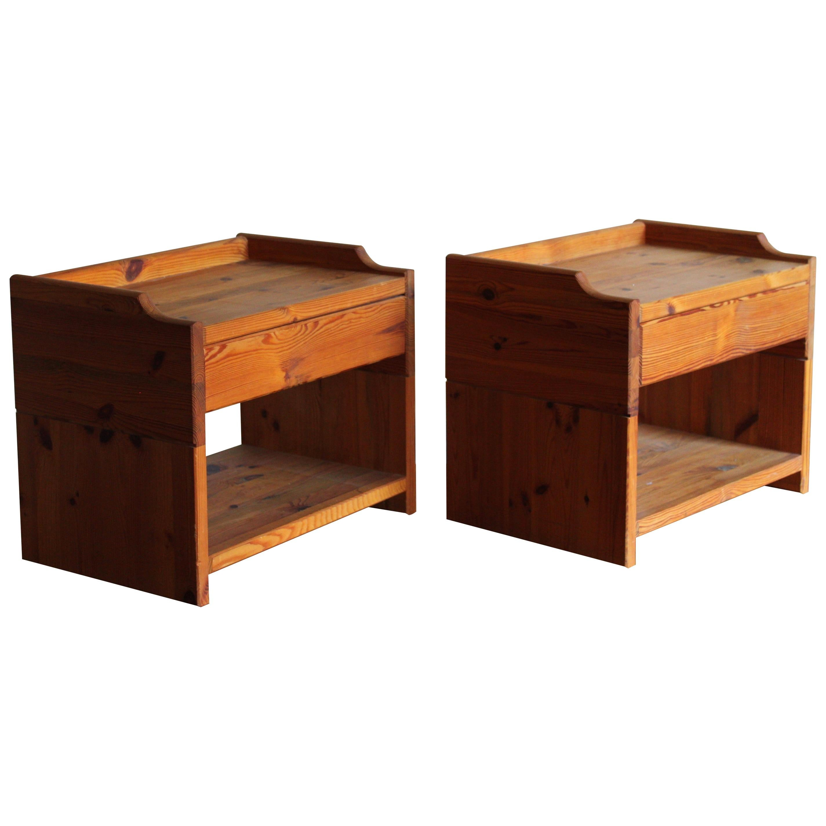 Swedish Designer, Minimalist Bedside Cabinets, Solid Stained Pine, Sweden, 1970s