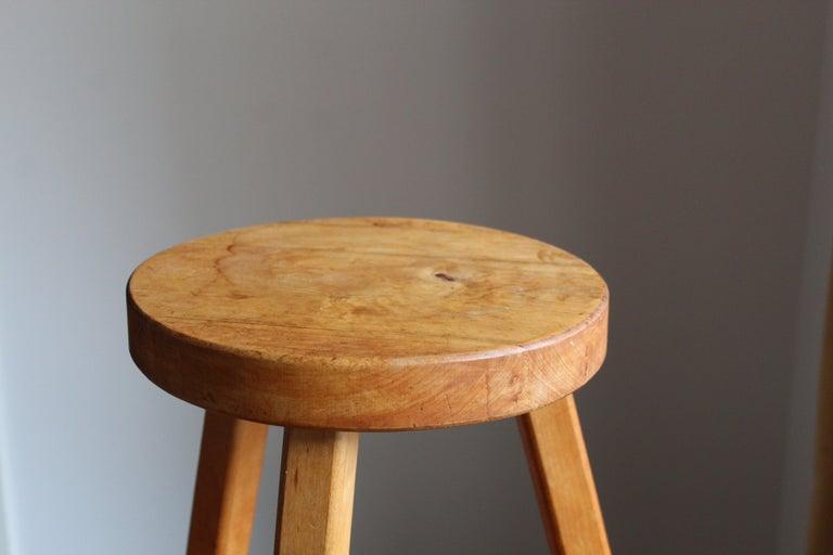 Swedish Designer, Minimalist Stool, Solid wood, 1970s In Good Condition In West Palm Beach, FL