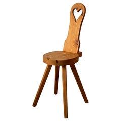 Swedish Designer, Minimalist Studio Stool / Side Chair Solid Pine, 1970s, Sweden