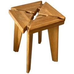 Swedish Designer, Minimalist Studio Stool, Solid Pine, 1970s, Sweden