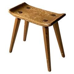 Swedish Designer, Minimalist Studio Stool Solid Pine, 1970s, Sweden