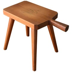 Swedish Designer, Minimalist Studio Stool, Stained Solid Pine, 1970s, Sweden