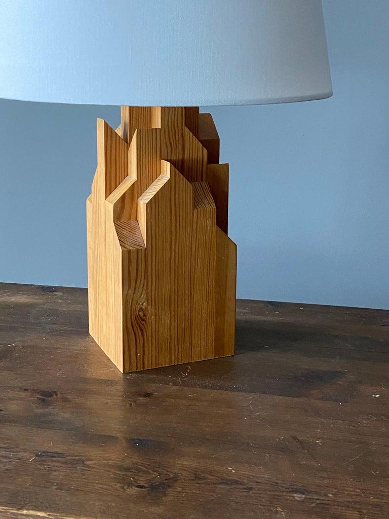 Mid-Century Modern Swedish Designer, Minimalist Table Lamp, Solid Pine, Sweden, 1970s For Sale