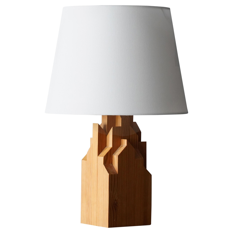 Swedish Designer, Minimalist Table Lamp, Solid Pine, Sweden, 1970s