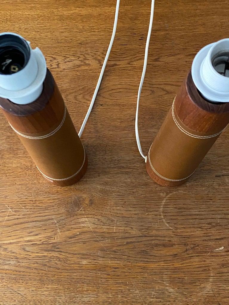 Faux Leather Swedish Designer, Minimalist Table Lamps, Solid Teak, Leatherette, Sweden, 1960s For Sale