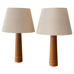 Swedish Designer, Minimalist Table Lamps, Solid Teak, Leatherette, Sweden, 1960s