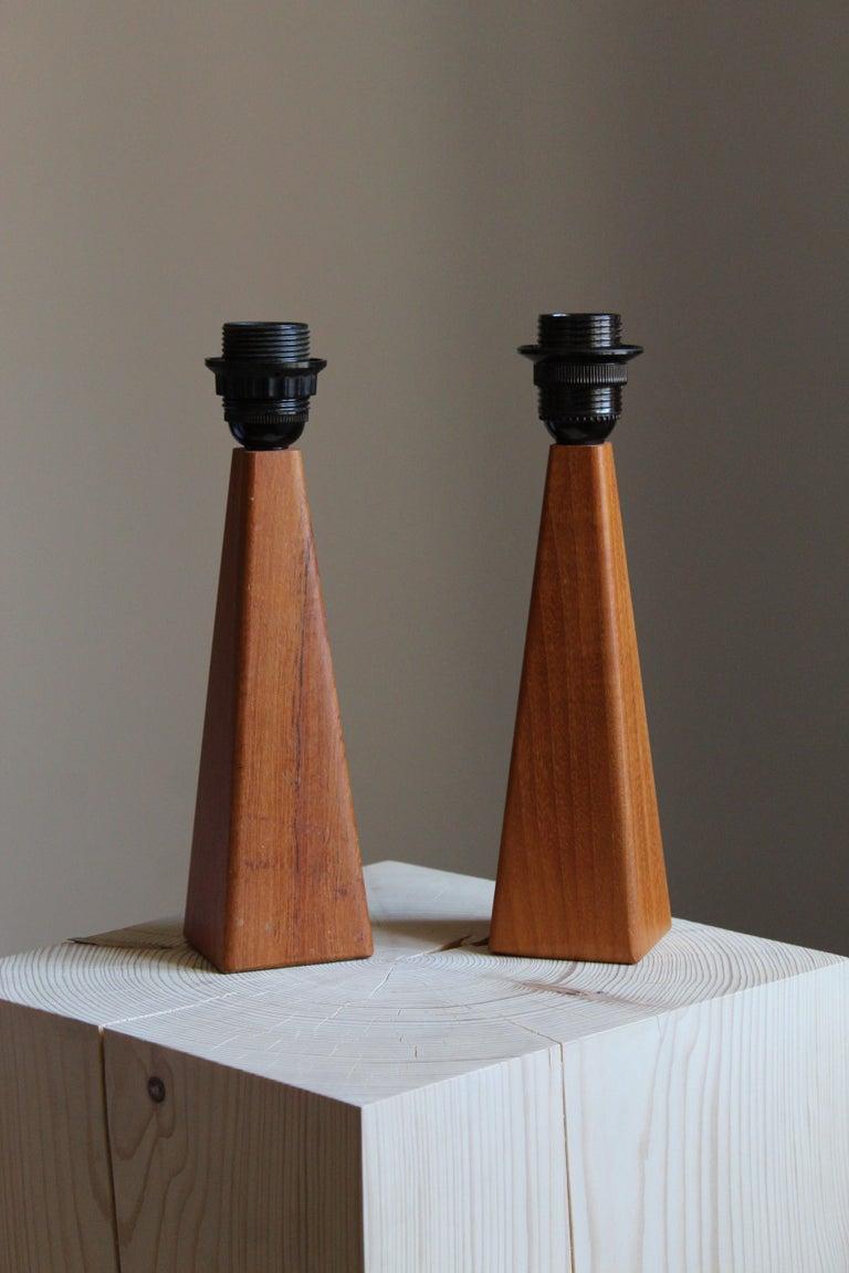 Mid-20th Century Swedish Designer, Minimalist Table Lamps, Solid Teak, Linen, Sweden, 1960s For Sale