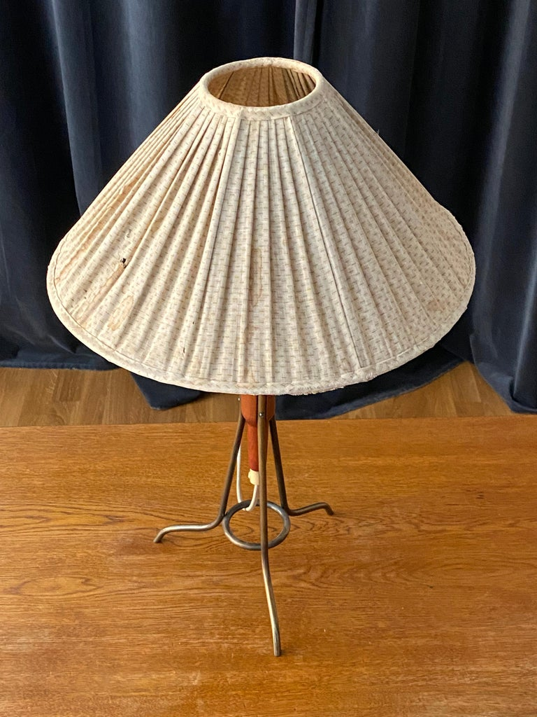 Mid-Century Modern Swedish Designer, Modernist Table Lamp, Brass, Original Fabric Shade, 1950s For Sale