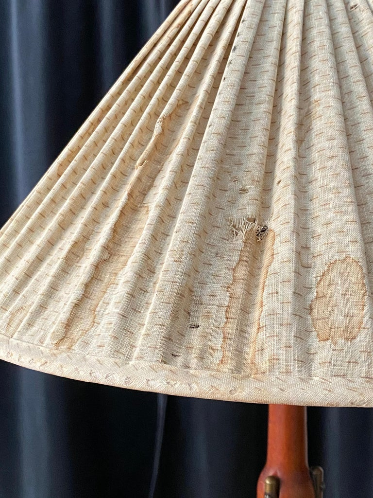 Swedish Designer, Modernist Table Lamp, Brass, Original Fabric Shade, 1950s For Sale 2