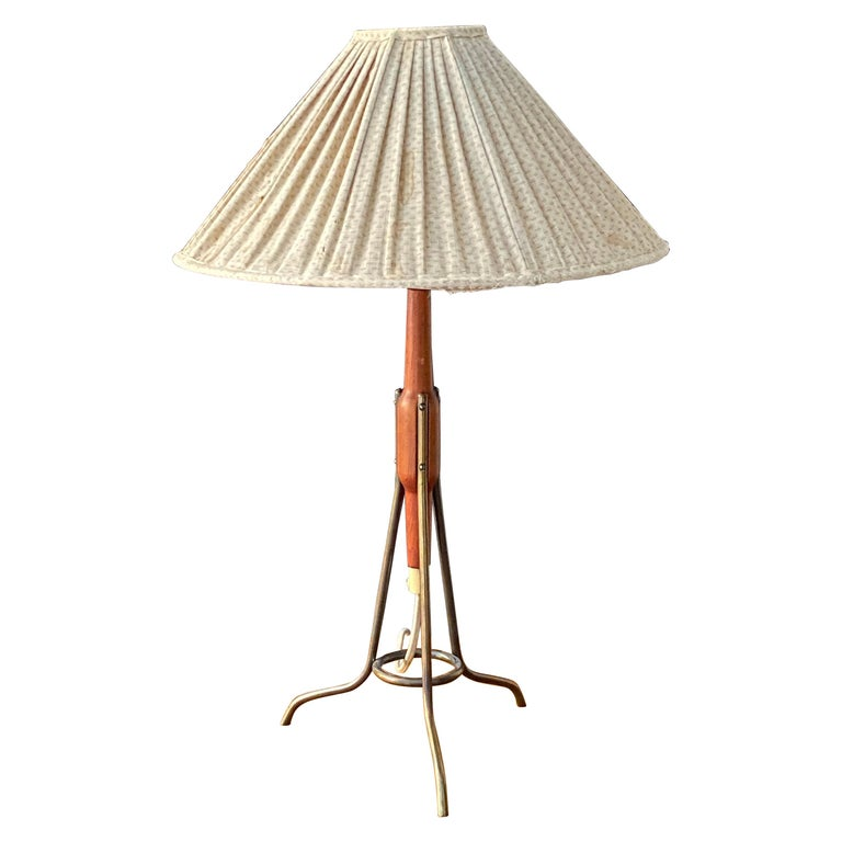 Swedish Designer, Modernist Table Lamp, Brass, Original Fabric Shade, 1950s For Sale