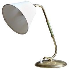 Valinte Oy, Organic Adjustable Table Lamp, Brass, fabric, Finland, 1940s