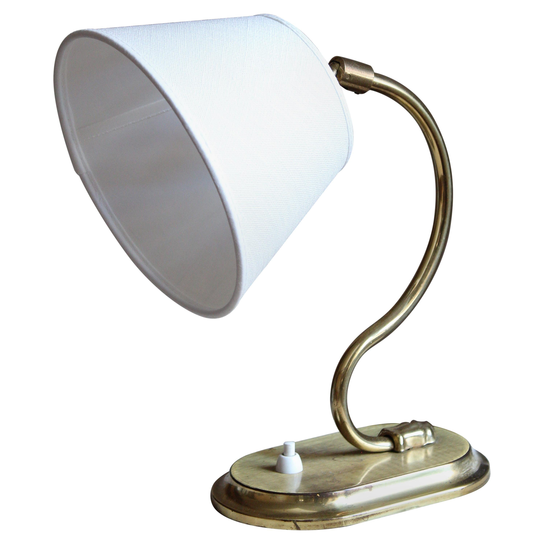 Swedish Designer, Organic Adjustable Table Lamp, Brass, Linen, Sweden, 1940s