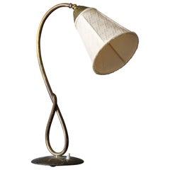 Swedish Designer, Organic Adjustable Table Lamp, Brass, Sweden, 1940s