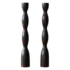 Swedish Designer, Organic Candlesticks, Dark-Stained Wood, Sweden, 1960s
