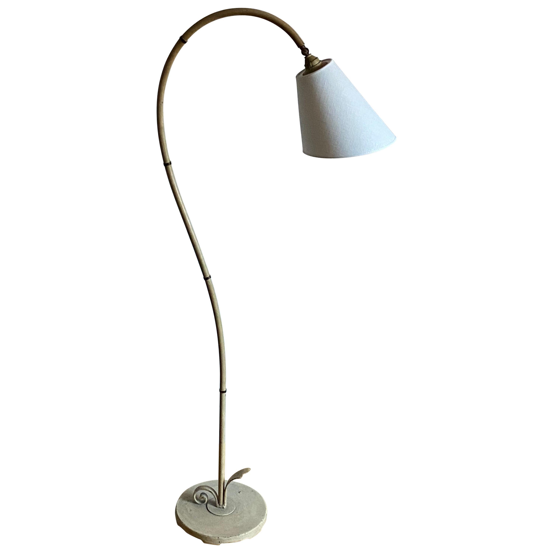 Swedish Designer, Organic Floor Lamp, Painted Metal, Fabric, 1940s, Sweden