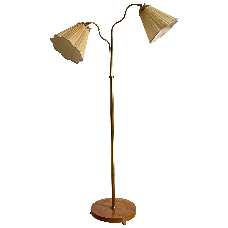 Swedish Designer, Organic Functionalist Floor Lamp, Brass, Wood, Sweden, 1940s