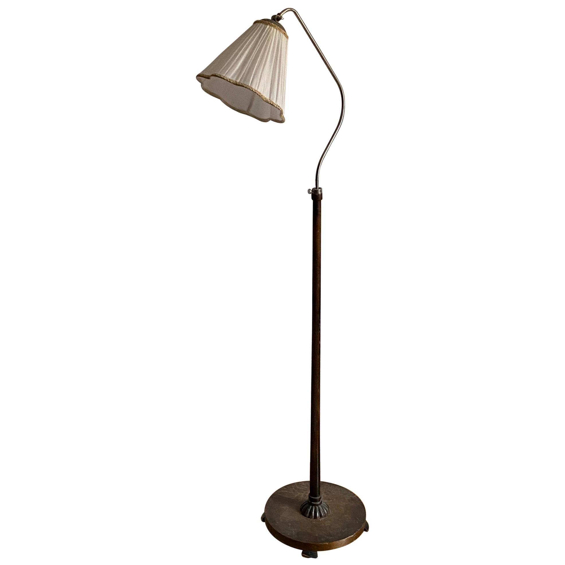 Swedish Designer, Organic Functionalist Floor Lamp, Metal, Wood, Fabric 1940s