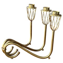 Swedish Designer, Organic Modernist 3-Armed Candelabra, Brass, Sweden, 1940s
