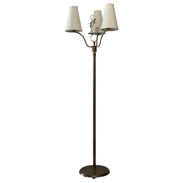Swedish Designer, Organic Modernist Floor Lamp, Brass, Fabric, Sweden, 1940s For Sale