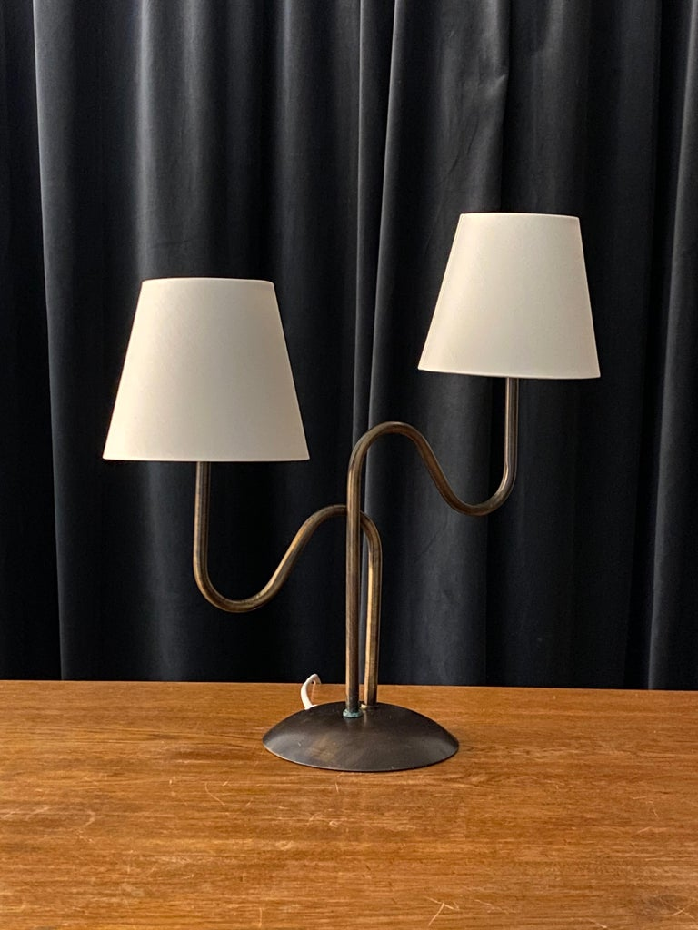 Mid-20th Century Swedish Designer, Organic Modernist Table Lamp, Brass, Sweden, 1960s For Sale