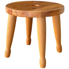 Swedish Designer, Organic Sauna Stool, Sculpted Pine, 1970s, Sweden