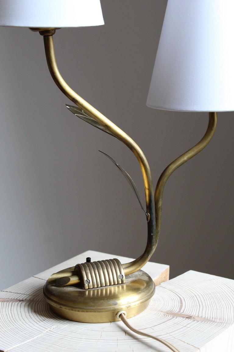 Mid-20th Century Swedish Designer, Organic Table Lamp, Brass, Fabric, Sweden, 1940s For Sale