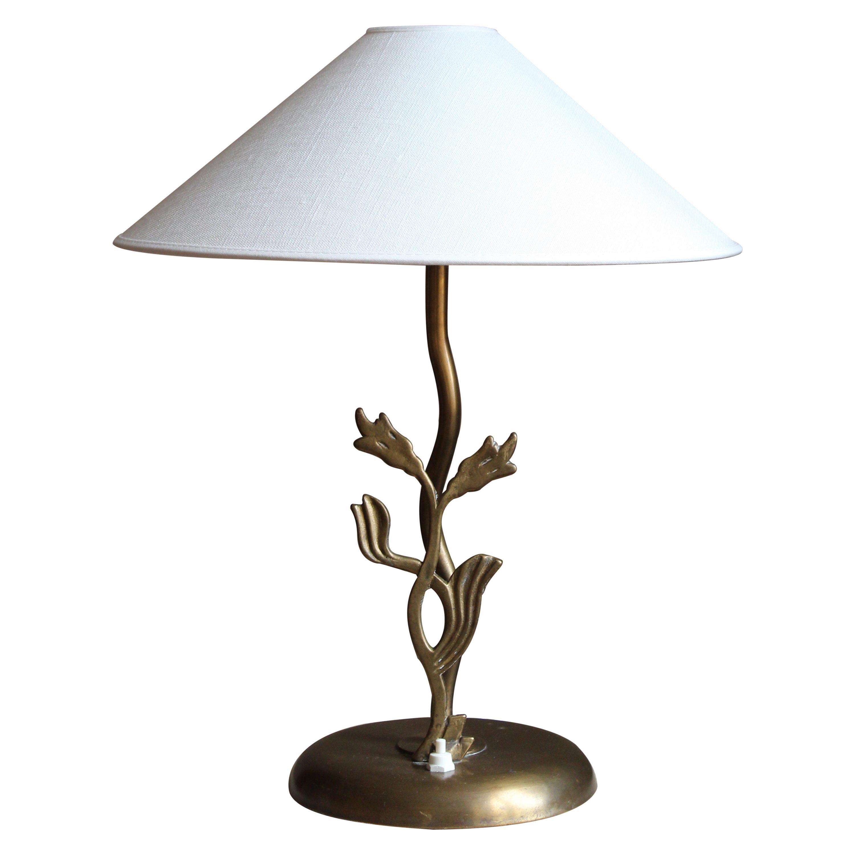 Swedish Designer, Organic Table Lamp, Brass, Sweden, 1940s