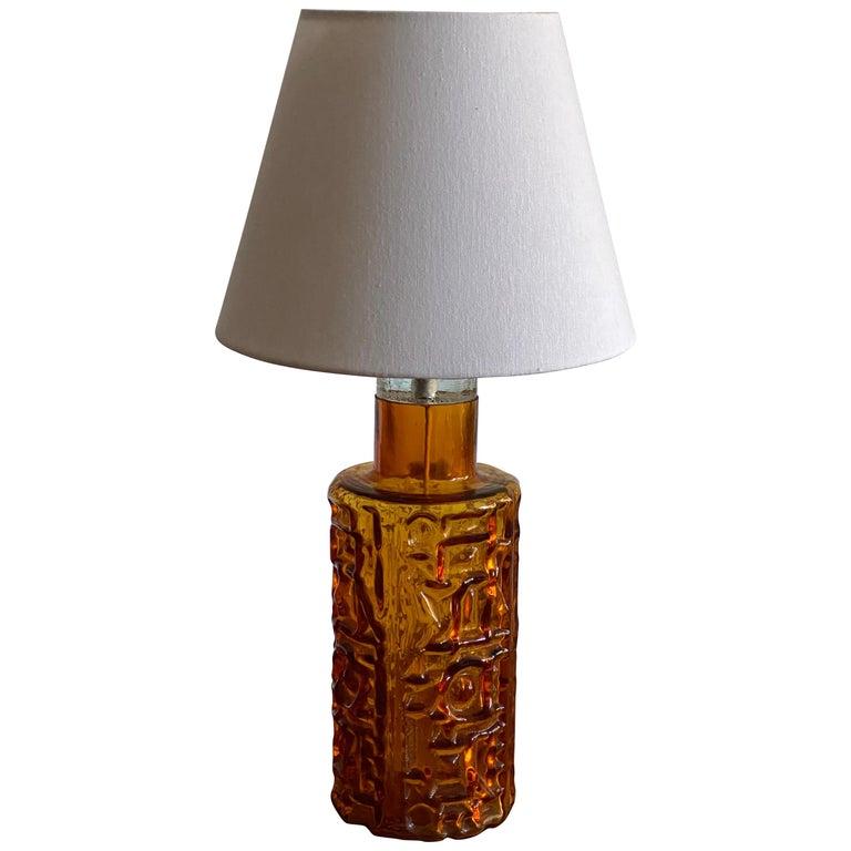 Swedish Designer, Organic Table Lamp, Orange Glass, Sweden, 1950s For Sale