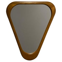 Swedish Designer, Organic Wall Mirror, Stained Oak, Glass, Sweden, 1950s