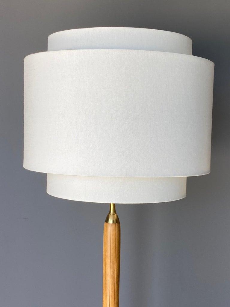 Scandinavian Modern Swedish Designer, Pair of Floor Lamps, Brass, Wood, Linen, 1940s For Sale