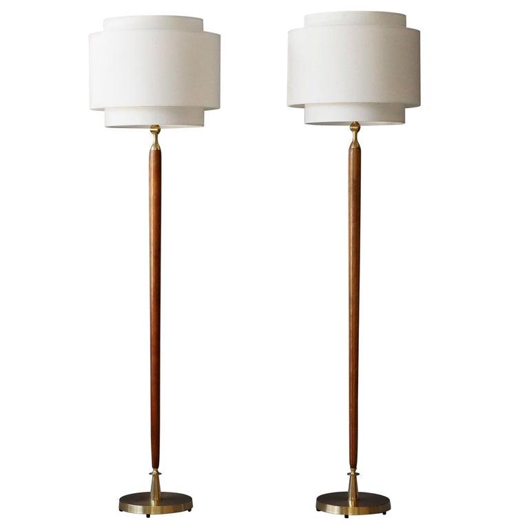 Swedish Designer, Pair of Floor Lamps, Brass, Wood, Linen, 1940s For Sale