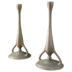 Swedish Designer, Pair of Organic Candlesticks, Pewter, Sweden, 1930s