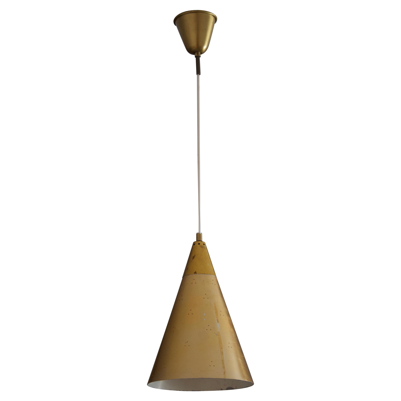 Swedish Designer, Pendant Light, Perforated Brass, Sweden, 1950s