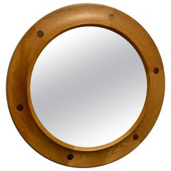 Swedish Designer, Round Wall Mirror, Oak, Rosewood, 1950s, Sweden