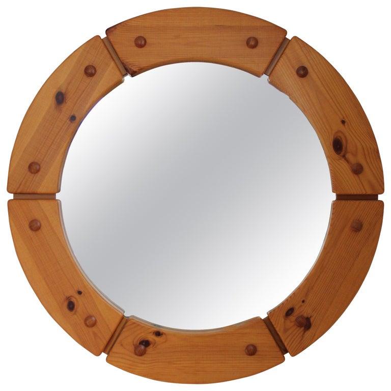 Swedish Designer, Round Wall Mirror, Solid Pine, Sweden, 1960s For Sale
