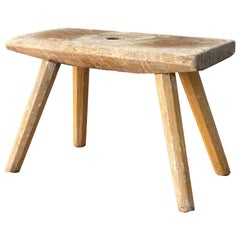 Swedish Designer, Sauna Stool, Carved Oak, Sweden, Early 20th Century