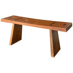 Swedish Designer, Sculptural Minimalist Bench, Solid Stained Oak, Sweden, 1960s