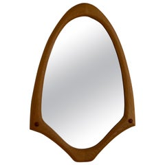 Swedish Designer, Sculptural Organic Wall Mirror, Oak, Glass, 1950s