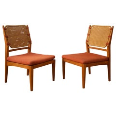 Swedish Designer, Slipper Chairs, Stained Beech, Rattan, Fabric, Sweden, 1950s