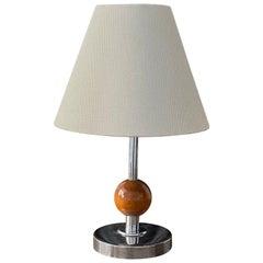 Swedish Designer, Small Art Deco Table Lamp, Chromed Metal, Wood Sweden, 1930s
