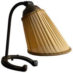 Swedish Designer, Small Desk Lamp, Cast Iron, Brass, Fabric, Sweden, 1940s