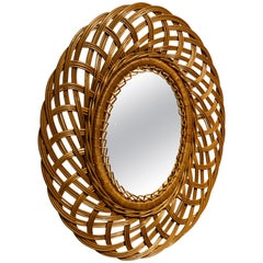 Swedish Designer, Small Organic Wall Mirror, Wicker, Sweden, 1960s