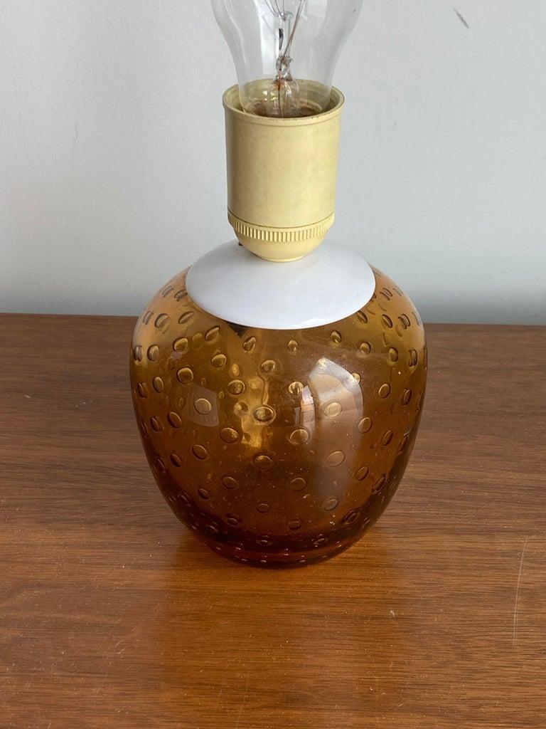 Mid-Century Modern Swedish Designer, Small Table Lamp, Orange Blown Glass, Sweden, 1960s For Sale