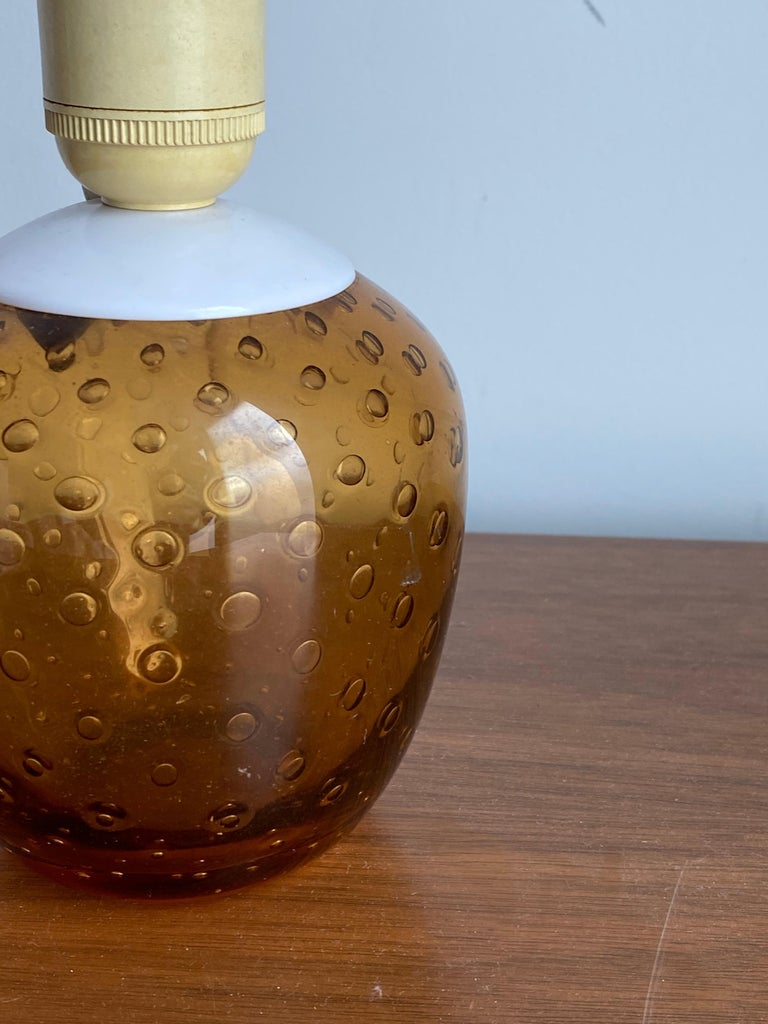 Swedish Designer, Small Table Lamp, Orange Blown Glass, Sweden, 1960s In Good Condition For Sale In West Palm Beach, FL