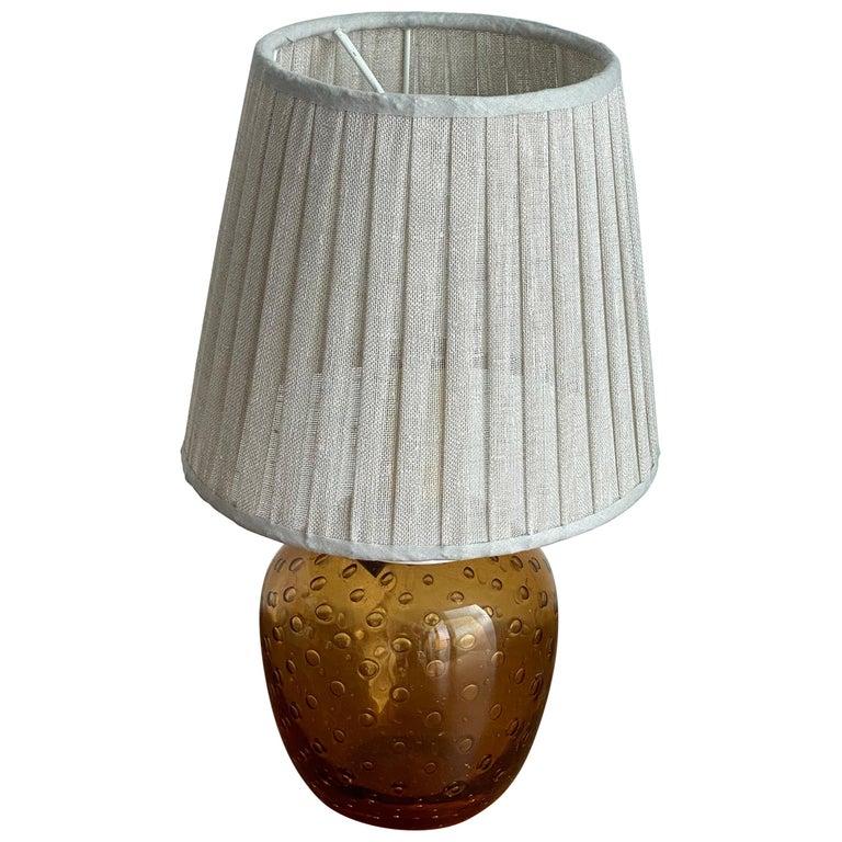 Swedish Designer, Small Table Lamp, Orange Blown Glass, Sweden, 1960s For Sale