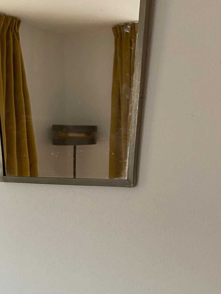 Art Deco Swedish Designer, Small Wall Mirror, Pewter, Sweden, 1930s For Sale