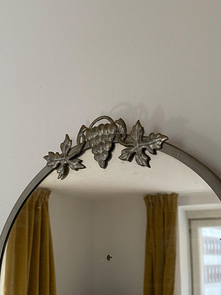 Swedish Designer, Small Wall Mirror, Pewter, Sweden, 1930s In Fair Condition For Sale In West Palm Beach, FL