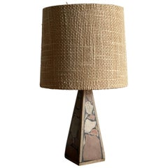 Swedish Designer, Stable Lamp, Fossil Stone, Handwoven Fabric, Sweden, 1960s