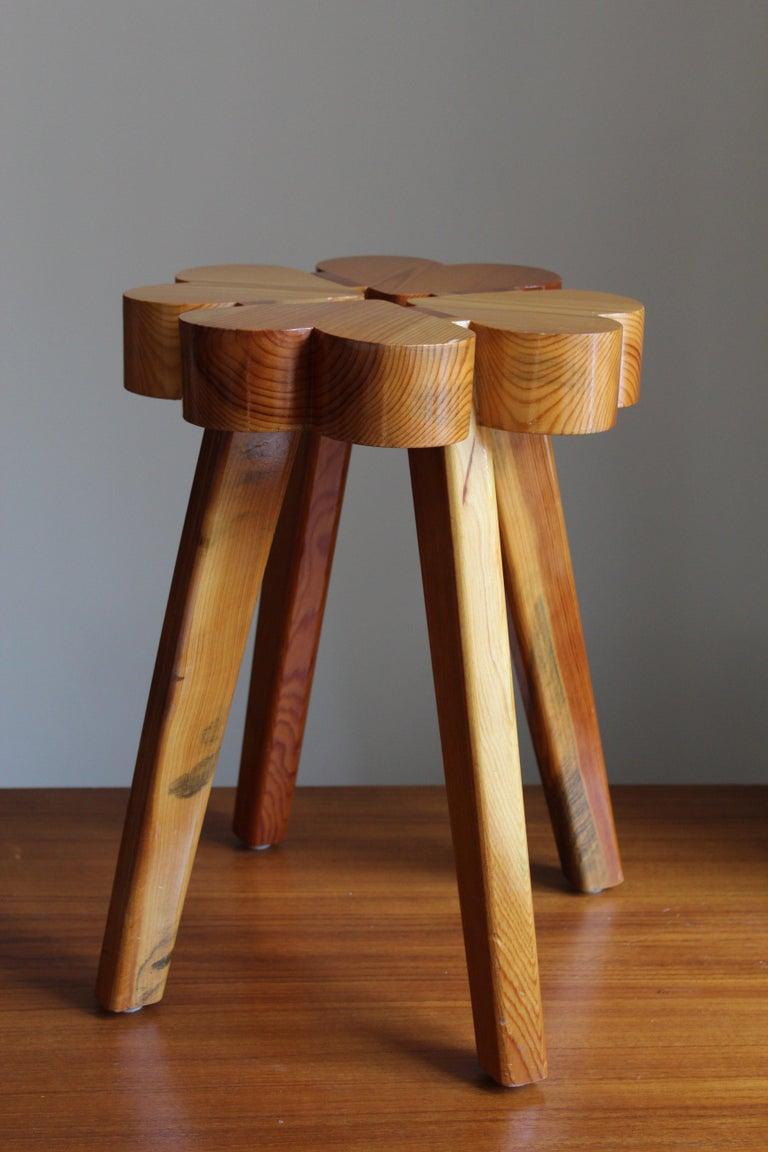 Scandinavian Modern Swedish Designer, Stool, Solid Pine, Sweden, 1970s For Sale